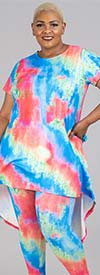 Dududai 641145-Red - Womens Tye Dye Print Design High-Low Top And Pant Set