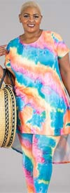 Dududai 641145-Turquoise - Womens Tye Dye Print Design High-Low Top And Pant Set