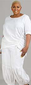 Lisa Rene 3364-White - Womens Hi-Lo Linen Tunic And Pleated Puff Pant Set