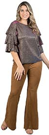 FT Inc SW5943-Coffee - Womens Flare Leg Pants With Front Zip In Faux Suede Fabric
