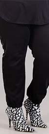 Dubgee 7006X-Black - Elastic Cuff Womens Sweatpants With Side Stripe