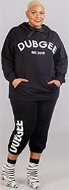 Dubgee 7016-Black - Elastic Cuff Tie-Front Womens Jogger Pant With Logo