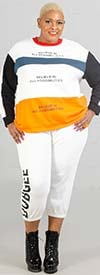 Dubgee 7016-White - Elastic Cuff Tie-Front Womens Jogger Pant With Logo