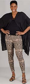 Etc. 01-Beige Geometric- Womens Knit Leggings In Print Design