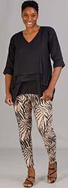 Etc. 01-Beige Zebra - Womens Knit Leggings In Animal Print Design