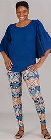 Etc. 02-Blue Geometric- Womens Knit Leggings In Print Design