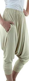 Fashion Apparel FT80041-Beige Womens Harem Style Jersey Knit Jogger Pants