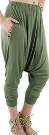 Fashion Apparel FT80041-Olive Womens Harem Style Jersey Knit Jogger Pants