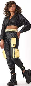 For Her 81828-Black - Faux Leather Womens Jogger Style Fashion Pants