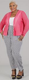 Joan Vass JC550W - Womens Printed Silk Style Pleated Pants