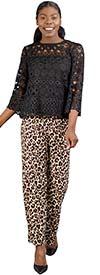 KarenT 5039-Animal - Womens Elastic Waist Wide Leg Knit Pant