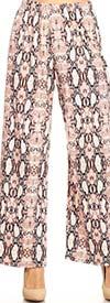 KarenT 5039-Pink Snake - Womens Elastic Waist Wide Leg Knit Pant