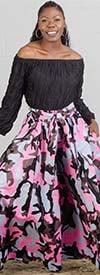 KaraChic 701-Pink/Gray Camo - Womens Camouflage Print Wide Leg Pants With Pockets