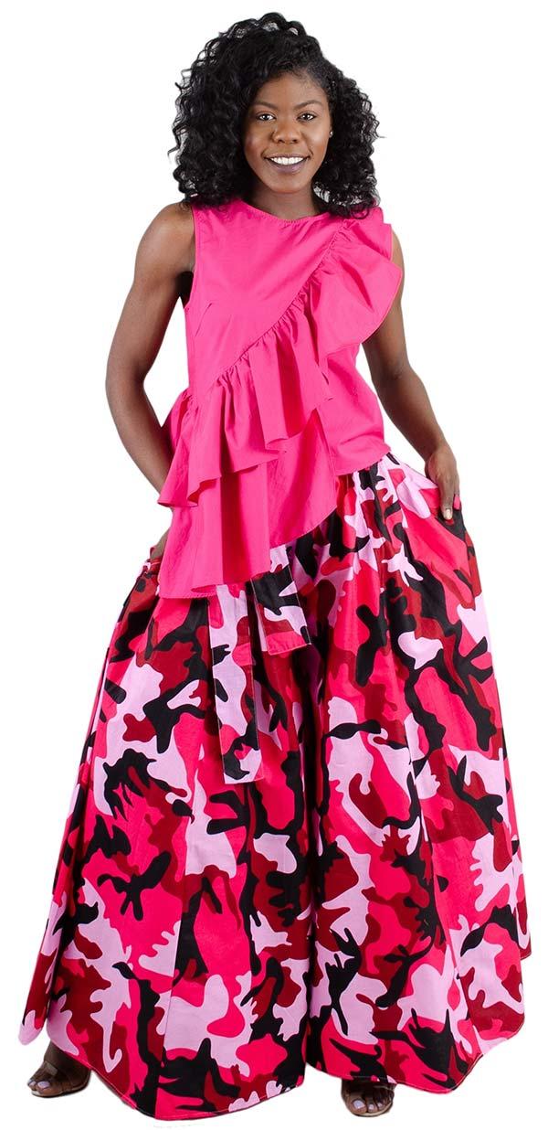 KaraChic 701-PinkCamo - Womens Camouflage Print Wide Leg Pants With Pockets
