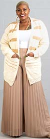 KarenT 7010P-Taupe - Womens Pleated Wide Leg Pant