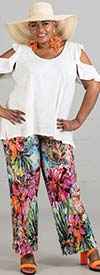 Melissa Paige BK33783 Womens Pull On Pants In Floral Pleated Print Design
