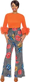 Raquel 2081 - Womens Flare Style Pant In Striped Floral Print