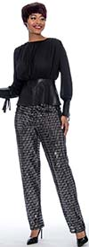 Raquel 2114 - Womens Elastic Waist Straight Leg Lined Disco Pant