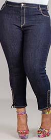 Susan Graver 77962WP-DarkDenim - Plus-Size Petite Womens Denim Pant With Lace-up Ankle Design