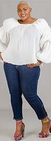 Susan Graver 77962WP-MediumDenim - PlusSize Petite Womens Denim Pant With Lace-up Ankle Design