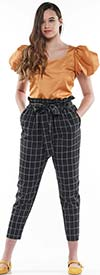 Why Dress-P190083 - High Waist Design Womens Tapered Ankle Pants In Grid Print