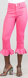 DG2 1005-Pink - Stretch Fabric Womens Capri Pant With Tulip Bottom Design