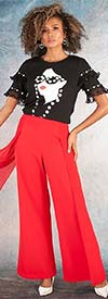 For Her 81595-Red -  Sheer Overlay Design Womens Pants