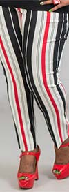 Melissa Paige MP1D039 Womens Pull On Pants In Harper Stripe Print Design