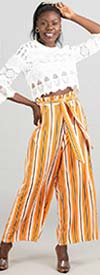 True Destiny 6746P Multi Stripe Design Womens Belted Pant With Elastic Waist
