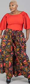 KaraChic 7599 - Womens African Style Print Wide Leg Pants With Pockets