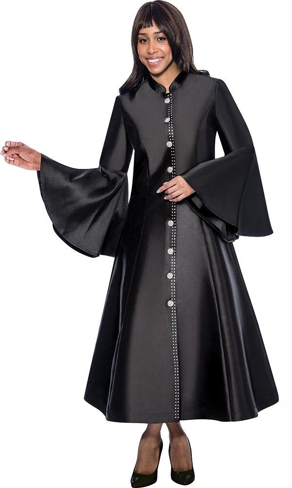 Regal Robes RR9031-Black Church Robe With Flared Sleeves