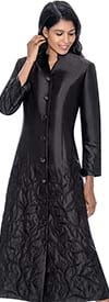 Regal Robes RR9121-Black Church Robe With Foliage Texture Design
