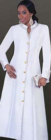 Tally Taylor 4445-White - Rhinestone Embellished Womens Cassock Church Robe