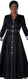Tally Taylor 4530-BlackSilver - One Piece Womens Church Robe With Rhinestone Details