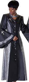Tally Taylor 4565-BlackSilver - Womens Church Robe With Jacquard Prints