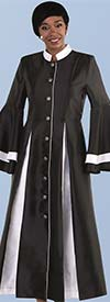 Tally Taylor 4615-BlackWhite - Layered Bell Sleeve Mandarin Collar Womens Church Robe With Two Tone Pleats