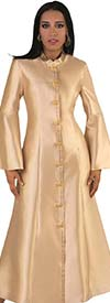 Tally Taylor 4634-Champagne - Bell Sleeve Mandarin Collar Womens Church Robe With Rhinestones
