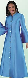 Tally Taylor 4634-SkyBlue - Bell Sleeve Mandarin Collar Womens Church Robe With Rhinestones