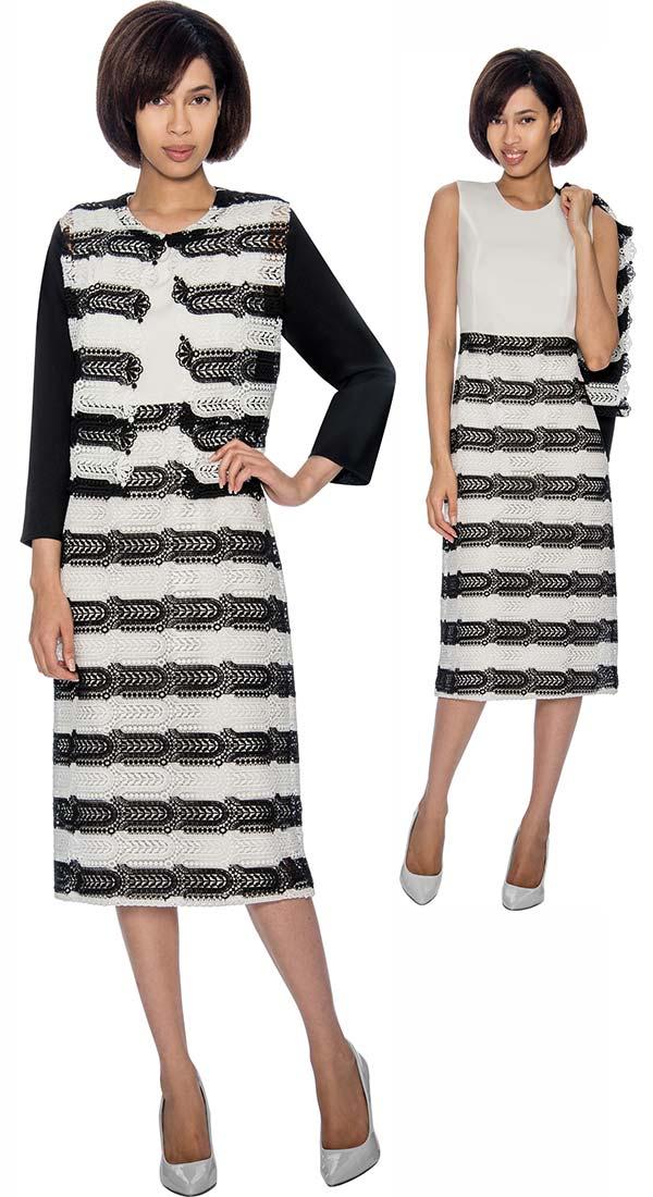 Rose Collection RC162 Jacket & Dress Set With Horizontal Pattern Design