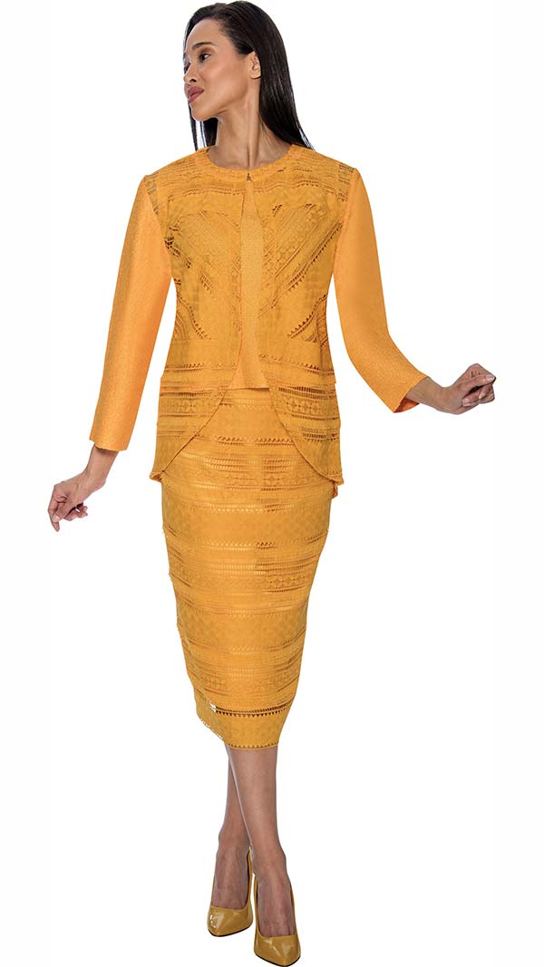 Rose Collection RC183-Gold Three Piece Womens Suit With Intricate Cut-Out Design