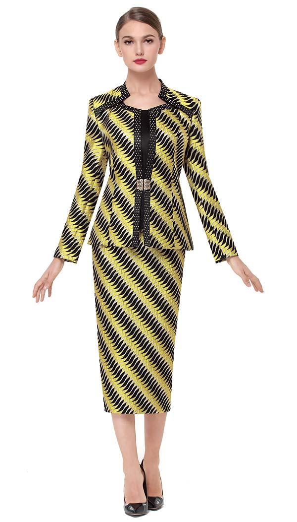 Serafina 3723 Womens Optical Illusion Effect Print Design Skirt Set