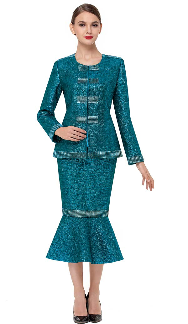 Serafina 3725 Metallic Fabric Flounce Skirt Set With Embellished Trim