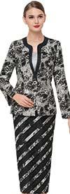 Serafina 3829-Black - Striped Design Skirt Set With Print Pattern Jacket