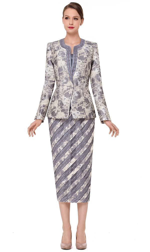 Serafina 3829-Silver - Striped Design Skirt Set With Print Pattern Jacket