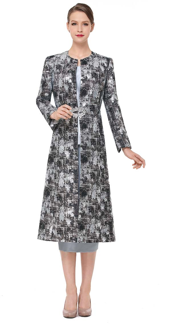 Serafina 3835 Three Piece Skirt Set With Long Printed Design Jacket