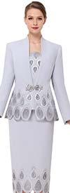 Serafina 3837 Womens Swan Neckline Church Suit With Water Droplet Pattern Design
