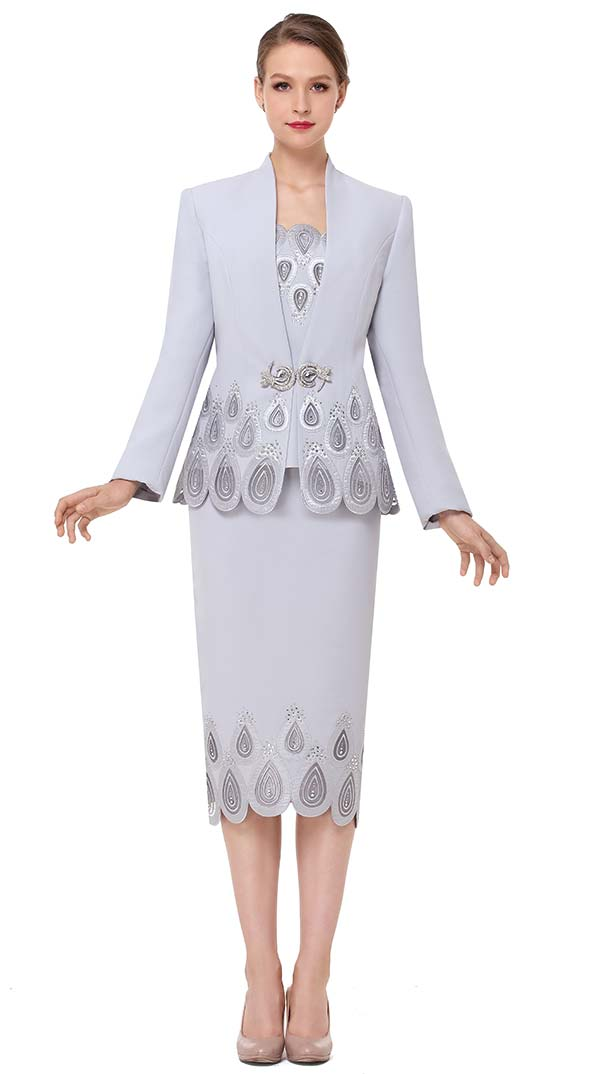 Serafina 3837 Womens Swan Neckline Church Suit With Water Droplet Pattern Design