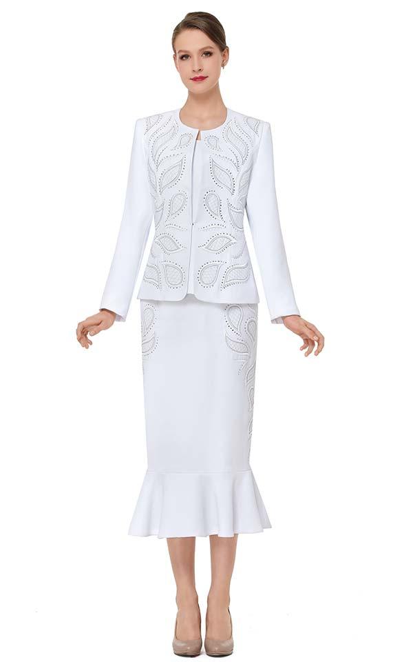 Serafina 3840 Flounce Skirt Outfit With Embellished Petal Design