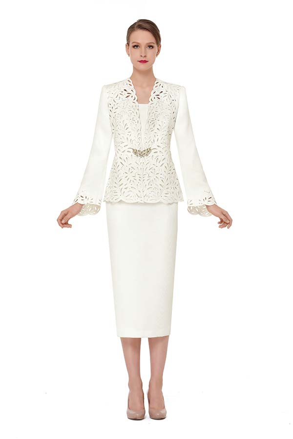 Serafina 3841 Womens Skirt Outfit With Laser Cut Out Design Jacket