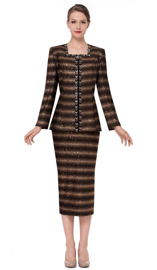 Serafina 3850 Womens Square Neckline Knit Skirt Suit With Chevron Pattern Trim